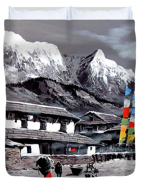 Panoramic View Of Everest Base Camp Duvet Cover