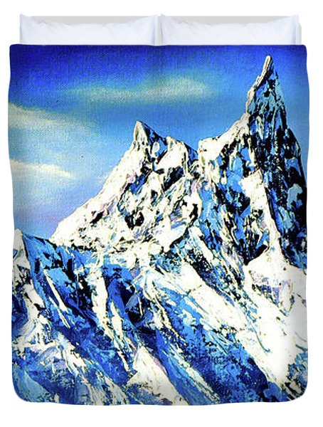 Panoramic View Of Everest Mountain Peak Duvet Cover