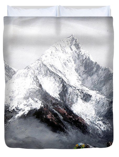 Panoramic View Of Everest Mountain Duvet Cover