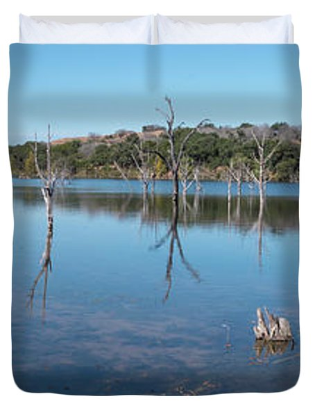 Panoramic View Of Large Lake With Grass On The Shore Duvet Cover