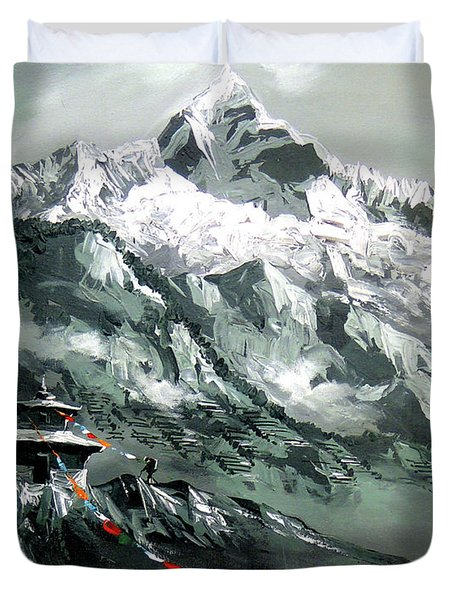 Panoramic View Of Mountain Everest Duvet Cover