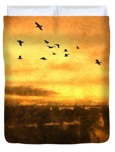 Panoramic View Of Seattle From The Balcony Duvet Cover by Victoria Porter