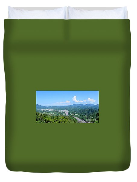 Duvet Cover featuring the photograph Panoramic View Of Southern Taiwan by Yali Shi