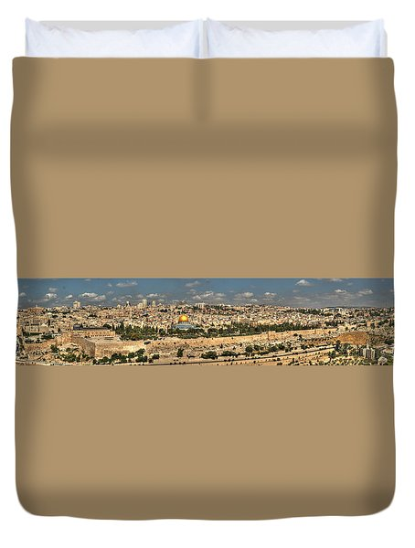 Panoramic View Of The Old City Of Jerusalem 1 Duvet Cover