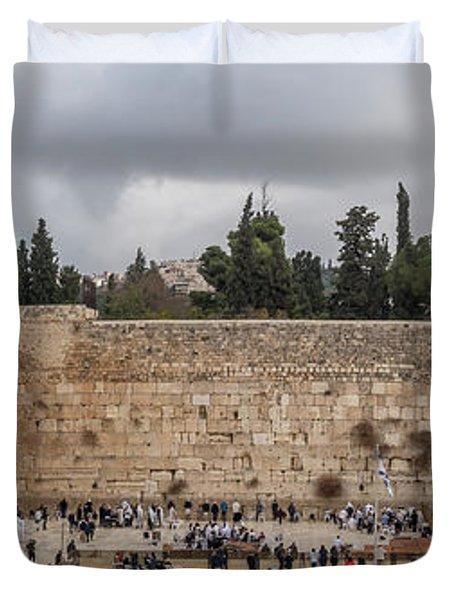Panoramic View Of The Wailing Wall In The Old City Of Jerusalem Duvet Cover
