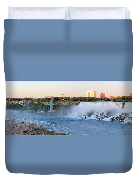 Panoramic Views Of The Peacebridge, Niagara River And American Falls Duvet Cover