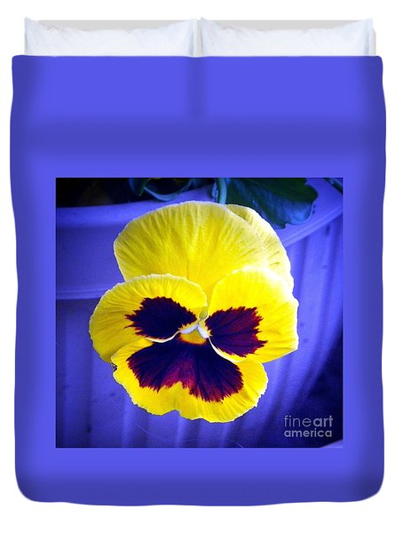 Pansey Yellow Blue Duvet Cover