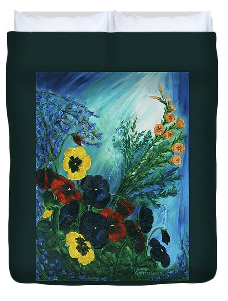 Pansies And Poise Duvet Cover by Jennifer Christenson