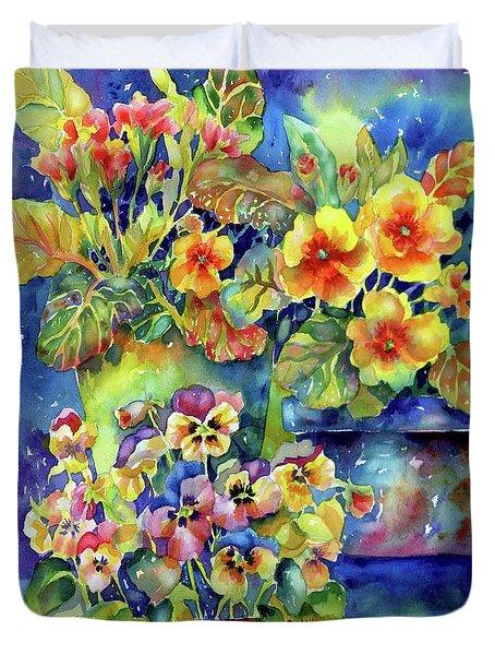 Pansies And Primroses Duvet Cover