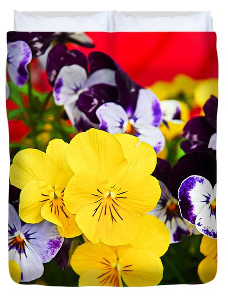Pansies And Red Cart Duvet Cover