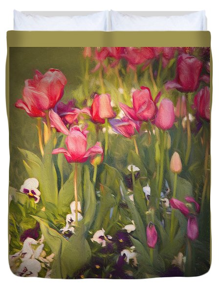 Pansies And Tulips Duvet Cover