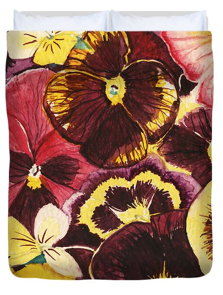 Duvet Cover featuring the painting Pansies Competing For Attention by Shawna Rowe