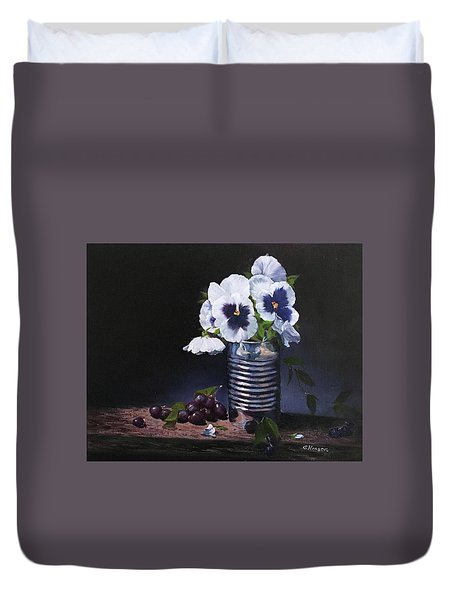 Pansies In A Can Duvet Cover