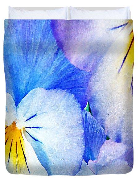 Pansies In Blue Tones Duvet Cover