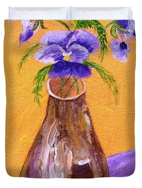 Pansies In Brown Vase Duvet Cover