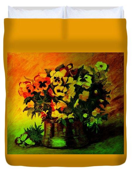 Pansies In The Vase Duvet Cover