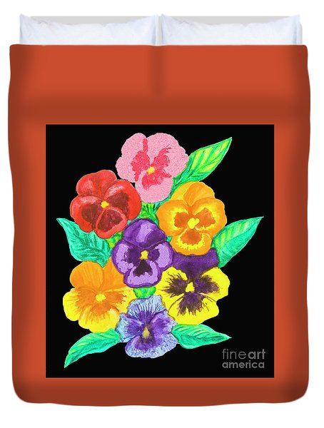 Pansies On Black Duvet Cover