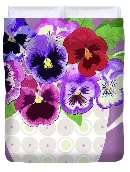 Pansies Stand For Thoughts Duvet Cover