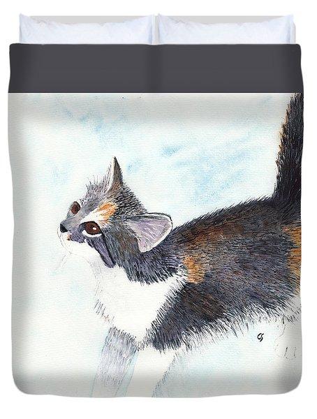 Calico Barn Cat Watercolor Duvet Cover