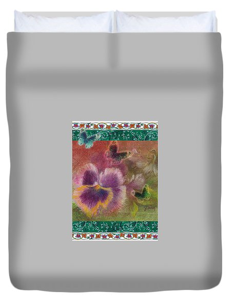 Pansy Butterfly Asianesque Border Duvet Cover
