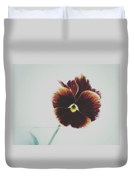 Duvet Cover featuring the photograph Pansy Face by Karen Stahlros