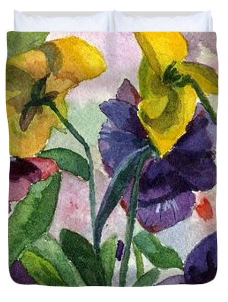Pansy Field Duvet Cover by Lynne Reichhart