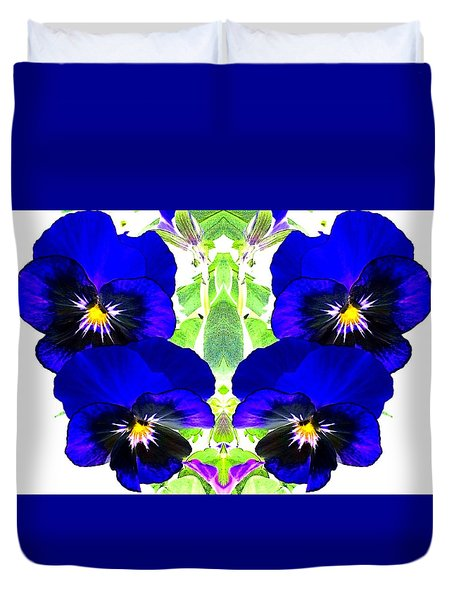 Duvet Cover featuring the photograph Pansy Pattern by Marianne Dow