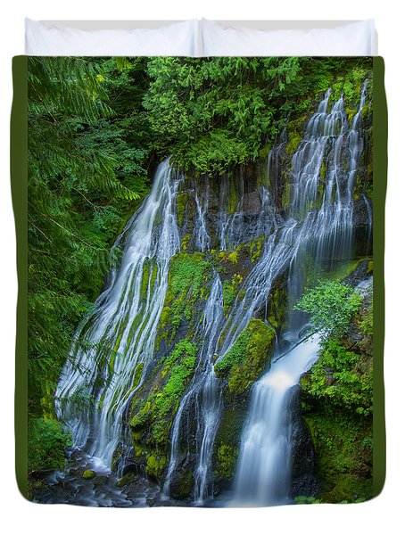 Panther Creek Falls Summer Waterfall 1 Duvet Cover