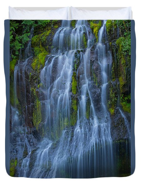 Panther Creek Falls Summer Waterfall -close 2 Duvet Cover
