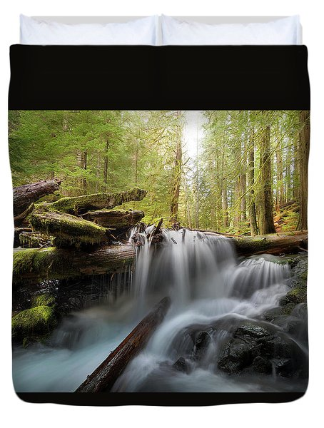 Panther Creek In Gifford Pinchot National Forest Duvet Cover by David Gn