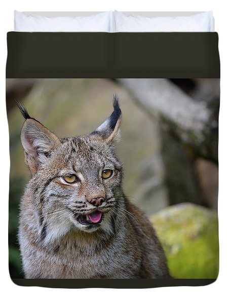 Panting Lynx Duvet Cover
