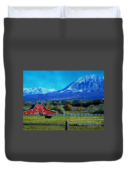 Paonia Mountain And Barn Duvet Cover by Annie Gibbons