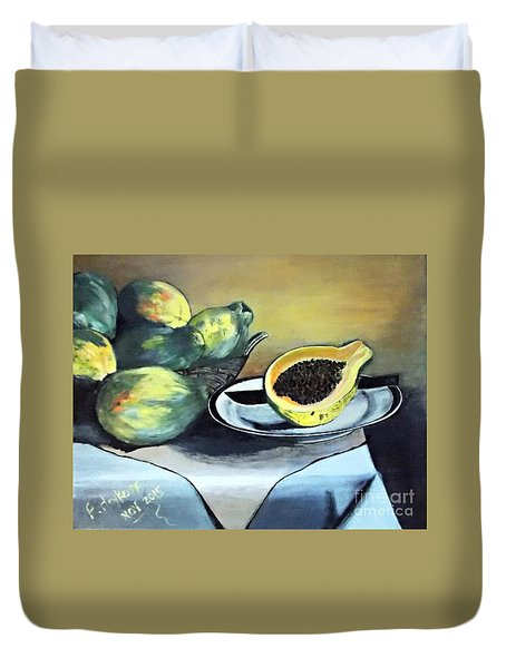 Papaya Still Life Duvet Cover
