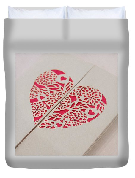 Paper Cut Heart Duvet Cover