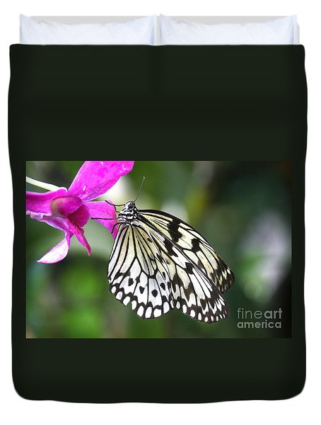Duvet Cover featuring the photograph Paper Kite On Pink by Ruth Jolly