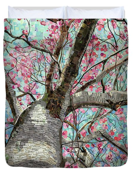 Duvet Cover featuring the mixed media Paper Magnolias by Shawna Rowe