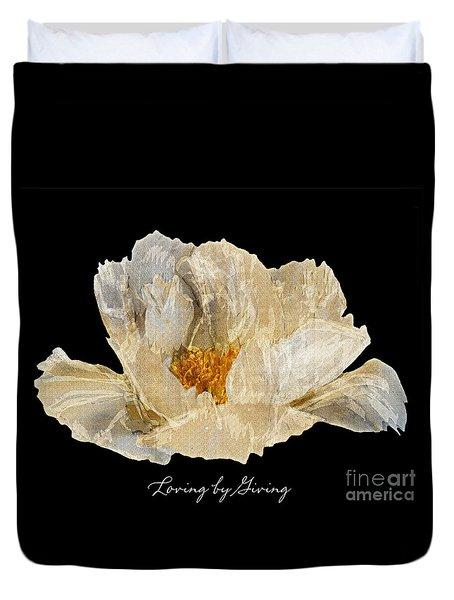 Paper Peony Loving By Giving Duvet Cover by Diane E Berry