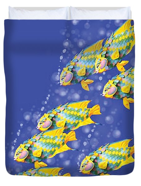 Paper Sculpture Fish Duvet Cover