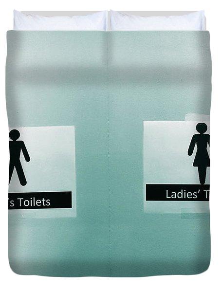 Paper Toilet Signs Duvet Cover