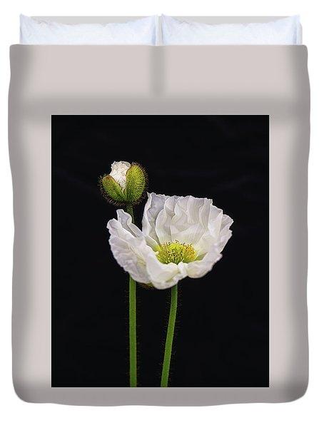 Paper White Poppy Duvet Cover