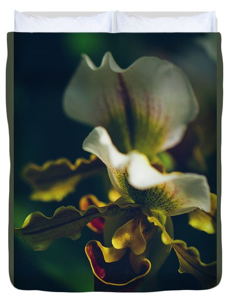 Duvet Cover featuring the photograph Paphiopedilum Villosum Orchid Lady Slipper by Sharon Mau
