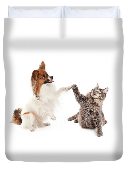 Papillon Dog And Cat High Five Duvet Cover