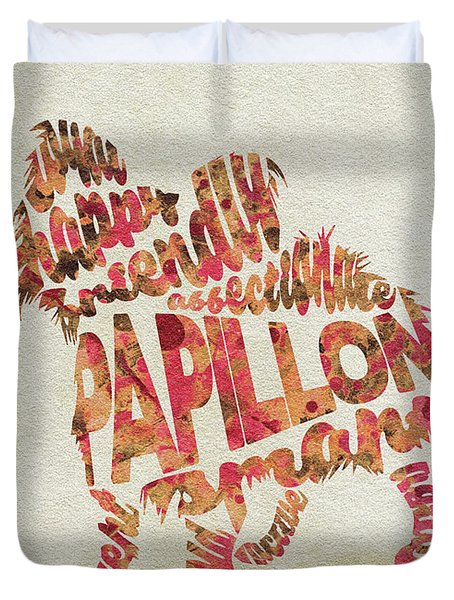 Duvet Cover featuring the painting Papillon Dog Watercolor Painting / Typographic Art by Inspirowl Design