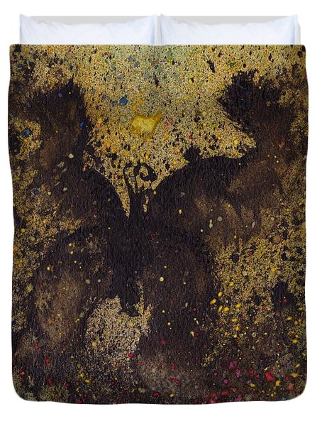 Duvet Cover featuring the painting Papillon Noir - Dark Butterfly - Mariposa Negra by Marc Philippe Joly