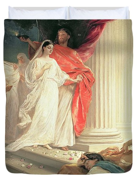 Parable Of The Wise And Foolish Virgins Duvet Cover by Baron Ernest Friedrich von Liphart