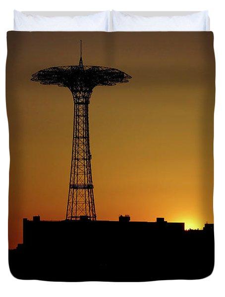 Parachute Jump Coney Island Duvet Cover