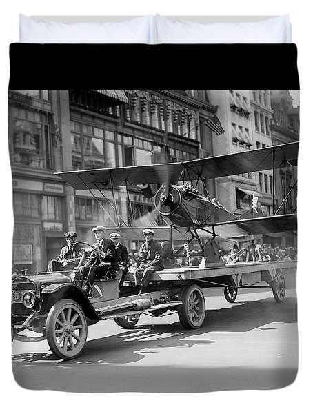 Parade Truck And Biplane Bw Duvet Cover
