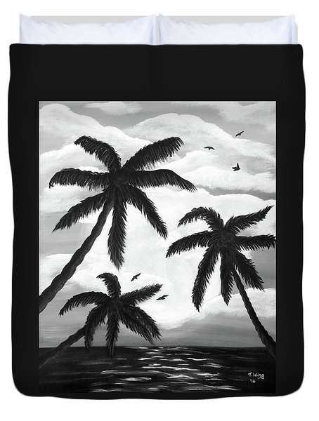 Duvet Cover featuring the painting Paradise In Black And White by Teresa Wing