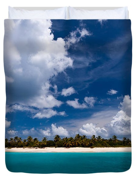 Paradise Is Sandy Cay Duvet Cover by Adam Romanowicz