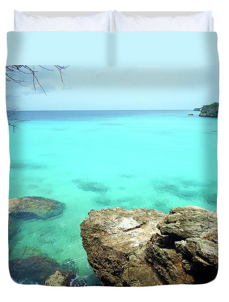 Duvet Cover featuring the photograph Paradise Island, Curacao by Kurt Van Wagner